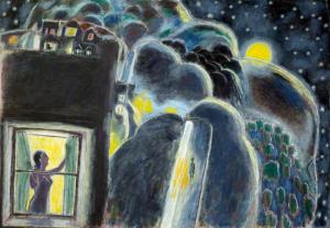 Woman in Window at Night by Ernest Zobole